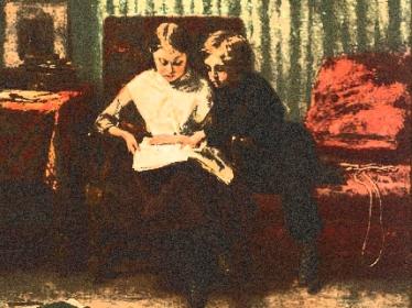 457px-Théophile_Emmanuel_Duverger_Two_children_reading c